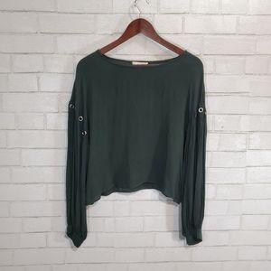 Gilded Intent dark green blouse